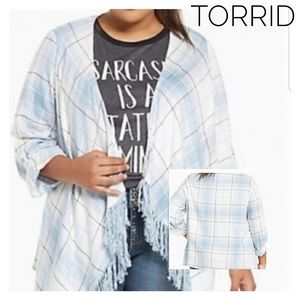 Torrid Blue Plaid Fringe Cardigan Size 2X